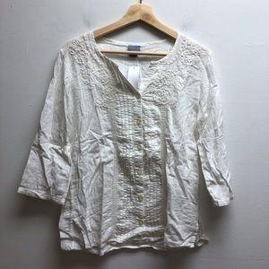 Laura Scott white button up shirt